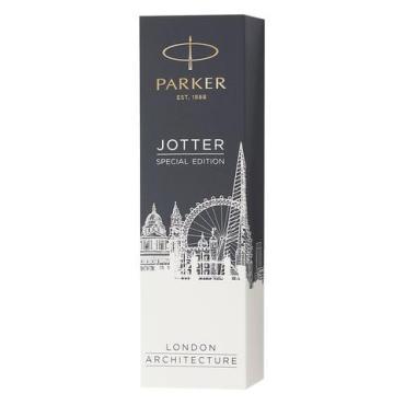 Ручка шариковая Parker Jotter London Architecture Classic Red, корпус красный, нержавеющая сталь, синяя