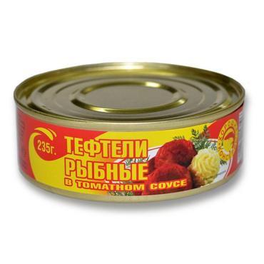 Консервы Рыбный Царь Тефтели рыбные в томатном соусе
