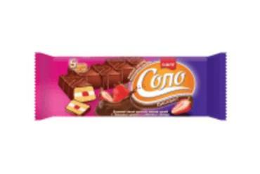 Бисквит в шоколадной глазури с ванильным кремом и клубничным джемом Соло, 30 гр., флоу-пак