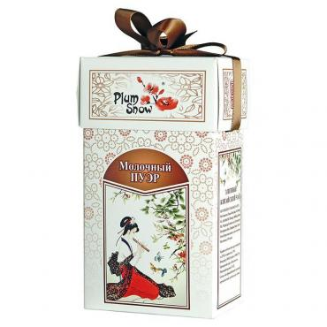 Чай черный Plum Snow Молочный Пуэр PS113, 100 гр., Картонная коробка