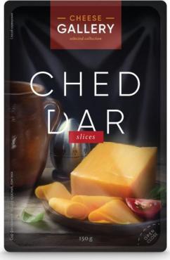 Сыр Cheese Gallery Cheddar полутвердый красный нарезка 45%
