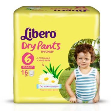 Подгузники-трусики с ромашкой и алоэ вера 13-20 кг. Libero Dry Pants, 16 шт., пластиковый пакет