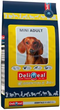Корм с мясом курицы для взрослых собак мелких и миниатюрных пор, Delimeal Mini Adult, 3 кг., пластиковый пакет
