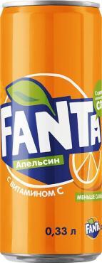 Газированный напиток Апельсин, Fanta, 330 мл., ж/б