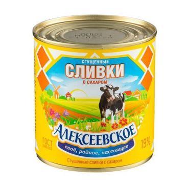Сливки сгущенные с сахаром 19%, Алексеевское, 360 гр., банка