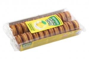 Печенье сахарное с кремовой лимонной прослойкой Принцип Домино, 100 гр., пластиковый пакет