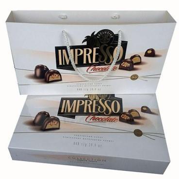 Подарочный набор шоколадных конфет премиум  белая, в сумке, Спартак, Беларусь,  Импрессо, 424 гр.,  картонная коробка