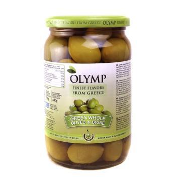 Оливки зеленые сорт Халкидики консервированные в рассоле , Греция, Olymp, 400 гр., стекло