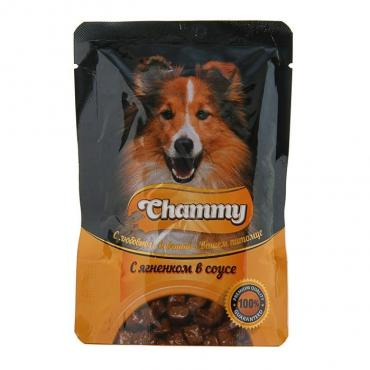 Корм влажнгый для собак с ягненком в соусе Chammy 85 гр. Дой-пак