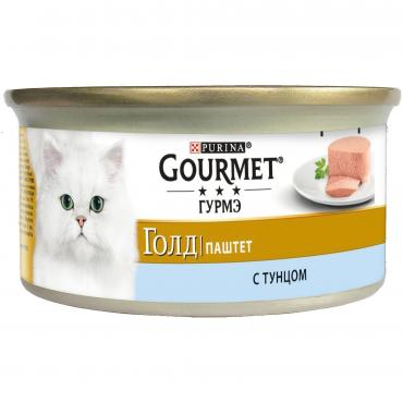 Корм влажный для кошек паштет с тунцом Gourmet 85 гр. Жестяная банка