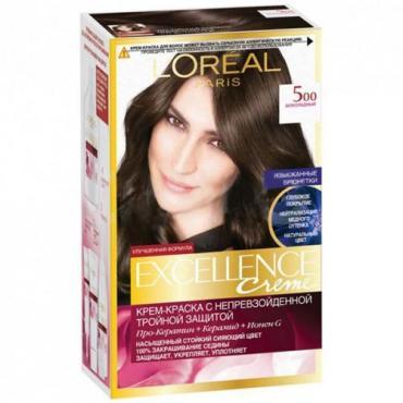 Краска для волос 500 Светлый каштан, L'Oreal Excellence Creme, 192 мл