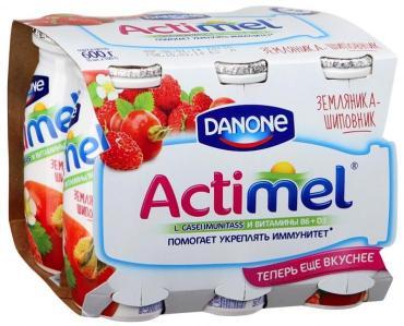 Кисломолочный напиток Земляника и шиповник  1,5%, Actimel, 600 гр., картонная коробка