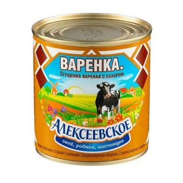 Сгущенка вареная с сахаром 8,5%, Алексеевское, 370 гр., банка