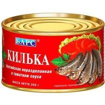 Килька балтийская не разделанная в томатном соусе Барс, 250 гр., ж/б