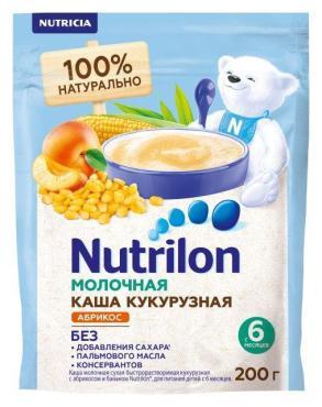 Каша молочная кукурузная абрикос-банан Nutrilon, 200 гр., дой-пак