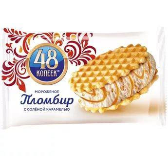 Мороженое Сэндвич с арахисом и карамельным соусом, 48 копеек