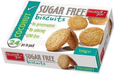 Печенье Sweet + Plus Sugar Free без сахара кокосовое