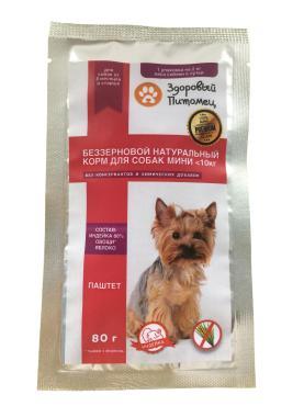 Корм влажный, паштет беззерновой натуральный для собак курица-овощи, Здоровый питомец, 80 гр., дой-пак