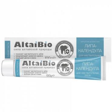 Зубная паста для чувствительных зубов липа-календула AltaiBio, 100 гр., пластиковая туба