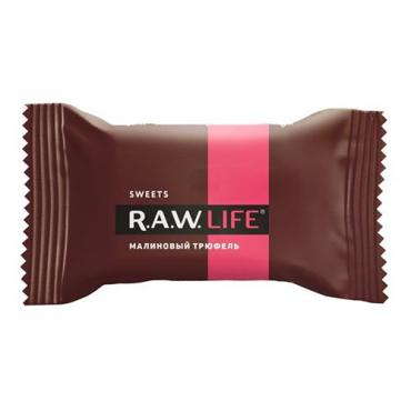 Конфеты R.A.W. LIFE Sweets Малиновый трюфель, 18 гр., флоу-пак