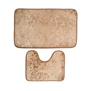 Набор ковриков для ванны и туалета Доляна Афина 40х50см., 50х78 см. коричневый 2 шт.