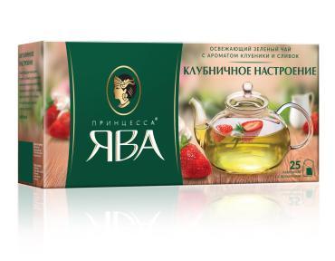 Чай Принцесса ЯВА зеленый Клубничное настроение 25 пакетиков