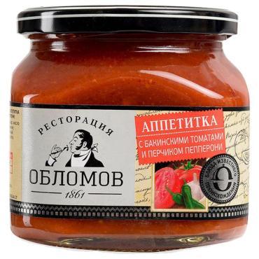 Аппетитка с бакинскими томатами и перчиком Пепперони, Ресторация Обломов,. 420 гр., стекло