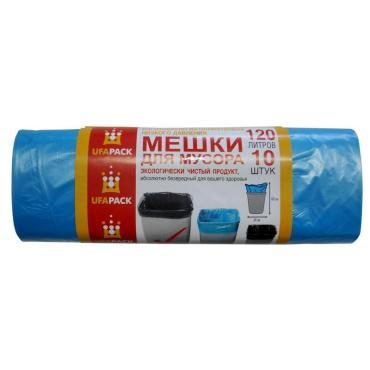 Мешки для мусора 120 л., 12 мкм., в рулоне 10 штук, эконом синие, UfaPack, бумажная упаковка