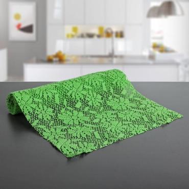 Коврик сервировочный противоскользящий Доляна Цветы 30х150 гр. зеленый