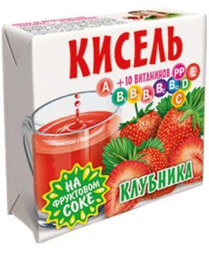 Кисель Клубника на фруктовом соке + 10 витаминов Трапеза, 220., обертка фольга/бумага