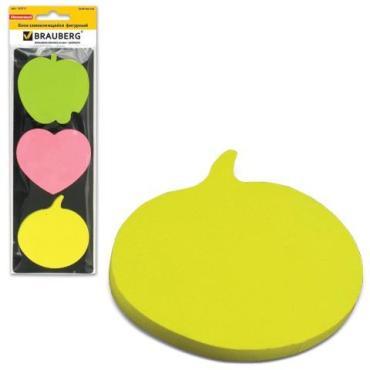 Блок самоклеящийся Brauberg неоновый фигурны 3 цвета х 50 листов