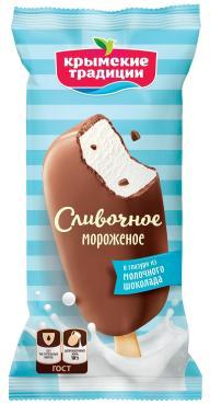 Мороженое Эскимо Ванильный в молочно-шоколадной глазури, Крымские Традиции, 80 гр.