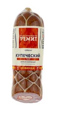 Колбаса сервелат Купеческий пир 1/2 батона в/к, Ремит, 400 гр., вакуумная упаковка