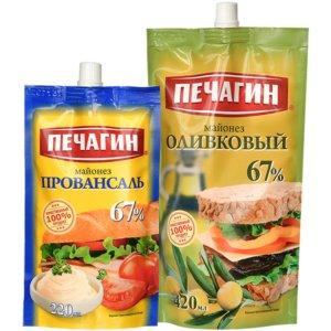 Майонез Оливковый 67%, Провансаль 67%, Печагин, 420 мл., дой-пак с дозатором