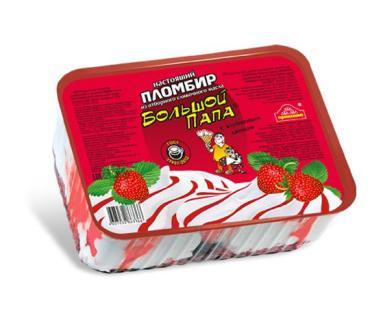 Мороженое пломбир с клубничным джемом, Проксима Большой Папа, 450 гр., пластиковый контейнер