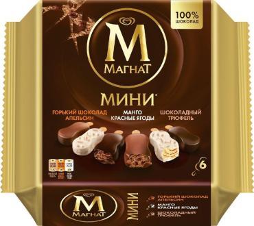 Мороженое мини мультипак В2-Горький шоколад и апельсин+Манго-Красные ягоды, Магнат, 286 гр., флоу-пак