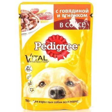 Корм влажный для взрослых собак всех пород, с говядиной и ягненком в соусе Pedigree 100 гр. Дой-пак
