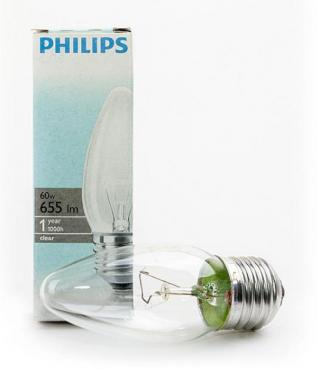 Лампа-свеча с прозрачной колбой Philips B35 60W E27 CL 854886, Philips 23 гр., картонная коробка