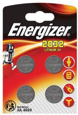 Батарейка миниатюрные, 4 шт., Energizer, Lithium CR2032, 20 гр., блистер