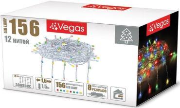 Гирлянда электрическая, с контроллером, 156 ламп, длина 1,5 м., Vegas Занавес, 300 гр., картонная коробка