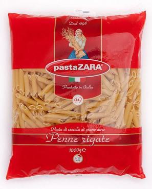 Макаронные изделия пенне ригате перо Pasta Zara, 1 кг., пластиковый пакет