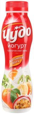 Йогурт питьевой Чудо Тропический микс 2,4%, 270 гр., пластиковая бутылка