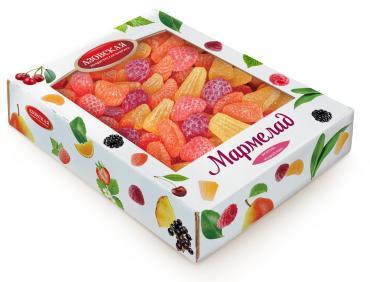 Мармелад желейный Фруктово-ягодный микс, Азовская кондитерская фабрика, 2 кг., картонная коробка