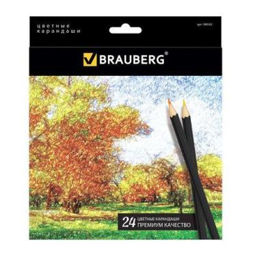 Карандаши цветные, 24 цвета, черный корпус, заточенные, высшее качество  Artist line, Brauberg, картон