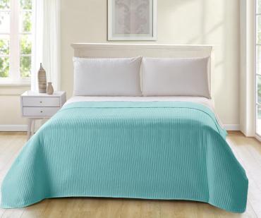 Покрывало для кровати стеганое, размер 180х220 см., цвет зеленый Seta Teves 1 кг., картонная коробка