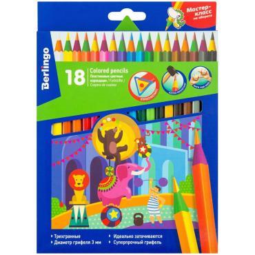 Карандаши цветные пластиковые Berlingo Цирк, 18цв., заточен., картон, европодвес