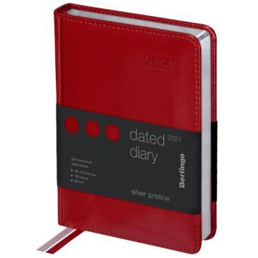 Ежедневник датированный 2021г., А6, 184л., кожзам, Berlingo Silver Pristine, сер. срез, красный