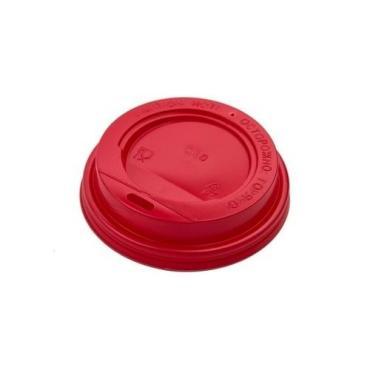 Крышка для стакана бумажного диам. 80 мм., полистирол красный 100 шт.