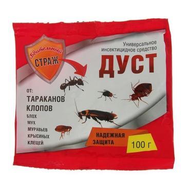 Дуст от тараканов и клопов Бдительный Страж, 100 гр., Пластиковый пакет