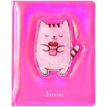 Дневник 1-11 кл. 48л. (твердый) Shiny cat, иск.кожа, тон. блок, ляссе